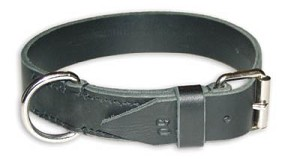 Leather Collar 30mm/1.2 in Wide Black